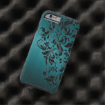 Metallic Blue-Green Brushed Aluminium & Black Lace Tough iPhone 6 Case