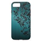Metallic Blue-Green Brushed Aluminium & Black Lace iPhone 8/7 Case