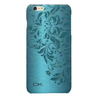 Metallic Blue-Green texture With Floral Lace iPhone 6 Plus Case