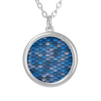 Metallic Blue Scales Print Round Pendant Necklace