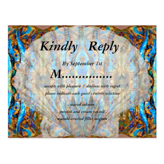 Metallic Blue Seashell Wedding RSVP by Deprise Postcard