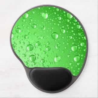 Metallic Bright Green Abstract Rain Drops Gel Mouse Pad