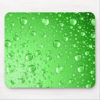 Metallic Bright Green Abstract Rain Drops Mouse Mat