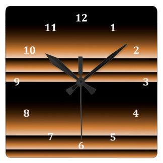 Metallic Bronze Copper Brown Ombre Stripes Clocks
