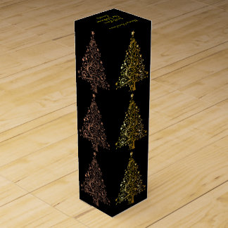 Metallic Brown Copper Black Gold Christmas Tree Wine Gift Box