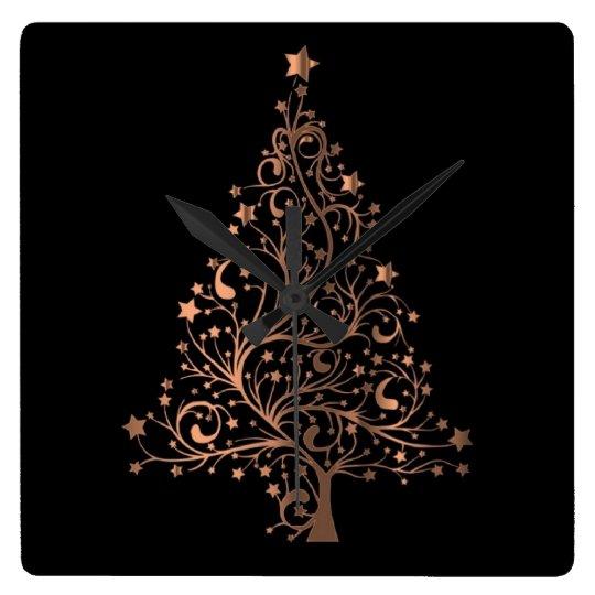 Metallic Brown Copper Stars Christmas Tree Elegant Square