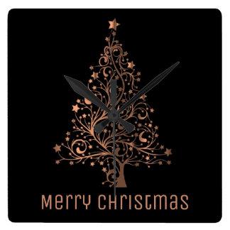 Metallic Brown Stars Christmas Tree Elegant Black Square Wall Clock