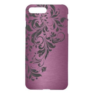 Metallic Burgundy Red Texture & Black Lace iPhone 8 Plus/7 Plus Case