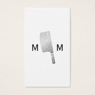 Metallic Butcher Knife Monogram Business Card