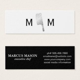 Metallic Butcher Knife Monogram Mini Business Card