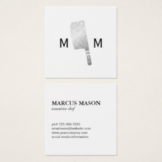Metallic Butcher Knife Monogram Square Business Card