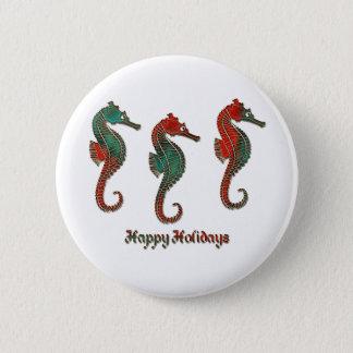 Metallic Christmas Seahorse Trio 6 Cm Round Badge