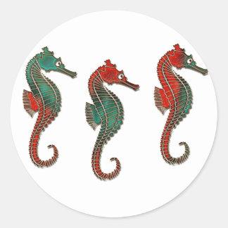 Metallic Christmas Seahorse Trio Classic Round Sticker