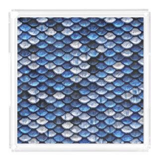 Metallic Cobalt Blue Fish Scales Pattern Acrylic Tray