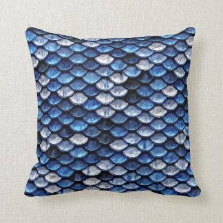 Metallic Cobalt Blue Fish Scales Pattern Cushion