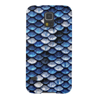 Metallic Cobalt Blue Fish Scales Pattern Galaxy S5 Cases