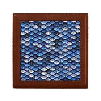 Metallic Cobalt Blue Fish Scales Pattern Gift Box