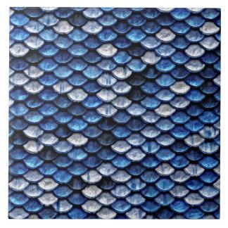 Metallic Cobalt Blue Fish Scales Pattern Large Square Tile