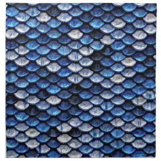 Metallic Cobalt Blue Fish Scales Pattern Napkin