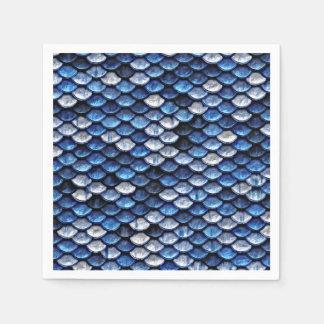 Metallic Cobalt Blue Fish Scales Pattern Paper Serviettes