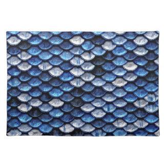 Metallic Cobalt Blue Fish Scales Pattern Placemat