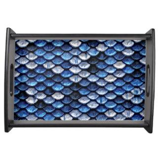 Metallic Cobalt Blue Fish Scales Pattern Serving Tray