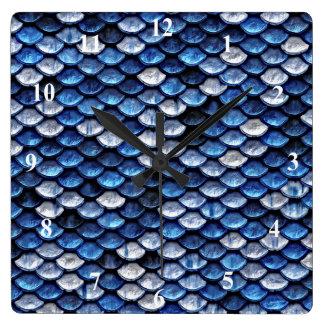 Metallic Cobalt Blue Fish Scales Pattern Square Wall Clock