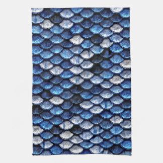 Metallic Cobalt Blue Fish Scales Pattern Tea Towel