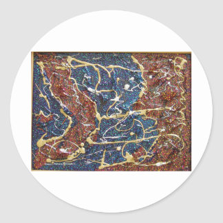 Metallic Continents Painting Round Sticker