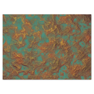 Metallic Copper Patina Rock Surface Texture Design Tissue Paper
