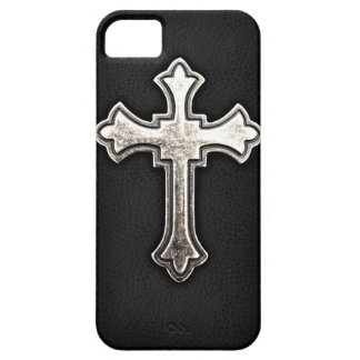 Metallic Crucifix on black leather Barely There iPhone 5 Case