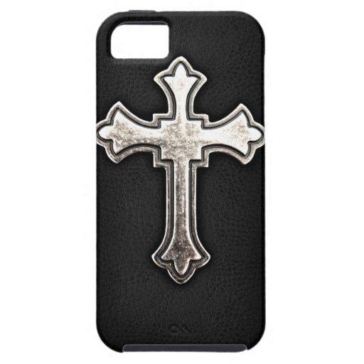 Metallic Crucifix on black leather iPhone 5 Covers