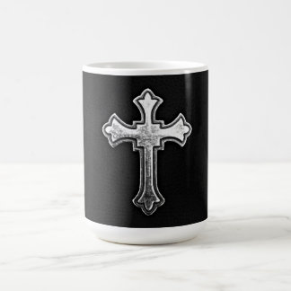 Metallic Crucifix on Black Leather Coffee Mug
