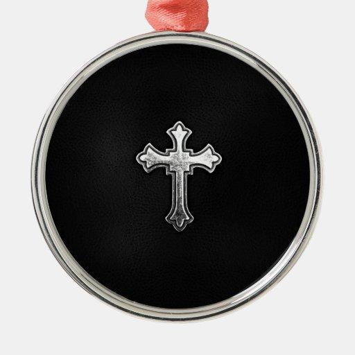 Metallic Crucifix on Black Leather Christmas Tree Ornament
