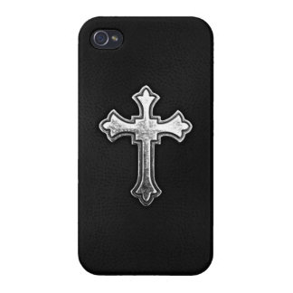 Metallic Crucifix on Black Leather iPhone 4/4S Cover