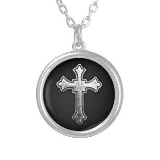 Metallic Crucifix on Black Leather Round Pendant Necklace