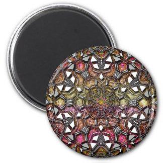 Metallic Crystal Mandala 6 Cm Round Magnet