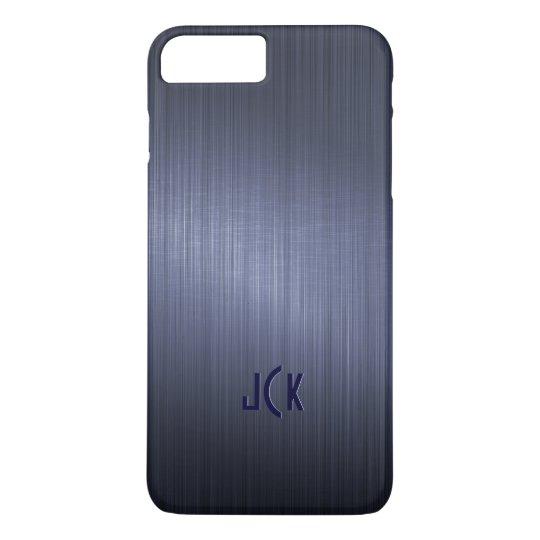 Metallic Dark Blue Brushed Aluminium Look iPhone 8