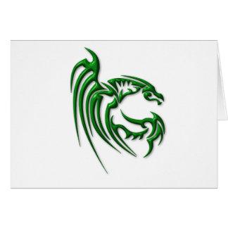 Metallic Dark Green Dragon Greeting Card