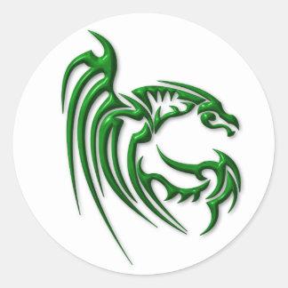 Metallic Dark Green Dragon Round Sticker