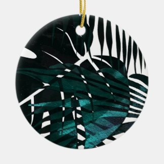 Metallic dark green tropical leaves christmas ornament