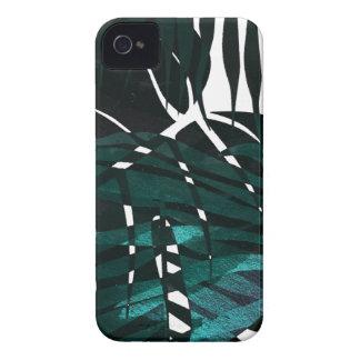 Metallic dark green tropical leaves iPhone 4 case