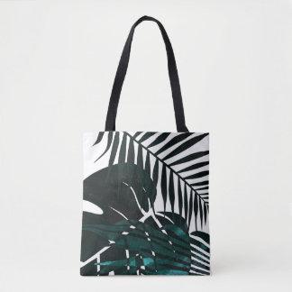 Metallic dark green tropical leaves tote bag