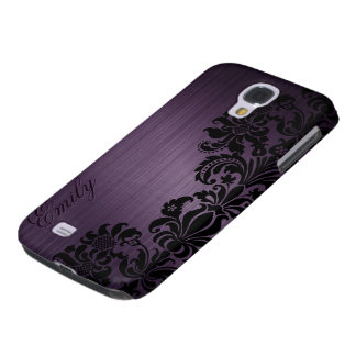 Metallic Dark Purple With Floral Black Lace Galaxy S4 Case