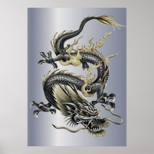 Metallic Dragon Print