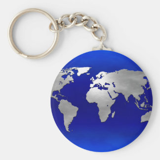 Metallic Earth Map Keychain
