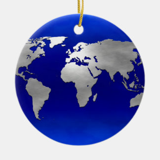 Metallic Earth Map Round Ceramic Decoration