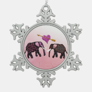 Metallic Elephants Snowflake Ornament