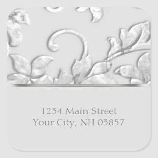 Metallic Embossed Look Damask in Silver Gray Square Sticker
