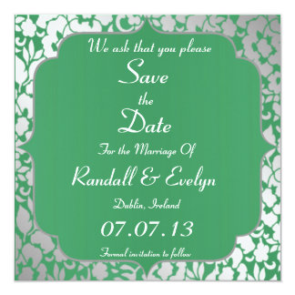 Metallic Emerald Green Save The Date Notice 13 Cm X 13 Cm Square Invitation Card